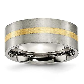 Titanium Brushed Flat Band Engravable 14k Gold Inlay 8mm Satin Band Ring Jewelry Gifts for Women - Ring Size: 6 to 13