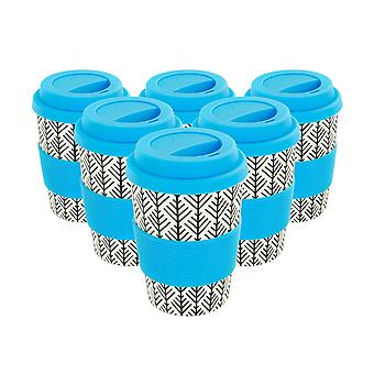 Reusable Coffee Cups - Bamboo Fibre Travel Mugs with Silicone Lid, Sleeve - 350ml (12oz) - Geometric - Blue - x6