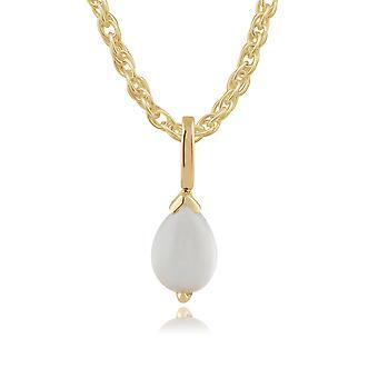 klassisk pære moonstone anheng halskjede i 9ct gult gull 123p0117219