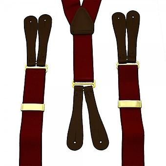 Ties Planet Burgundy Red Trouser Braces With Brown Leather Ends