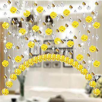 Crystal Glass And Rose Bead Curtain For Decoration