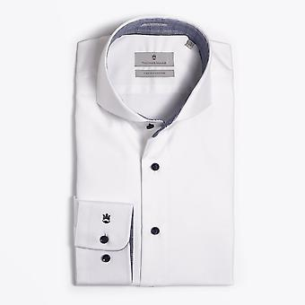 Thomas Maine  - Checked Trim Insert Shirt - White