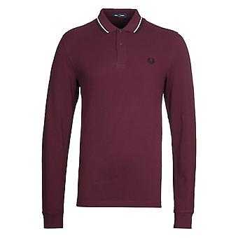 Fred Perry Twin Tipped Red Long Sleeve Polo Shirt