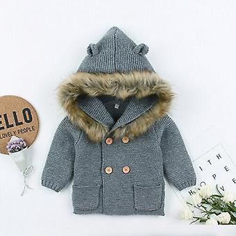 Zimowa ciepła kurtka z futrzanego kołnierza z kapturem