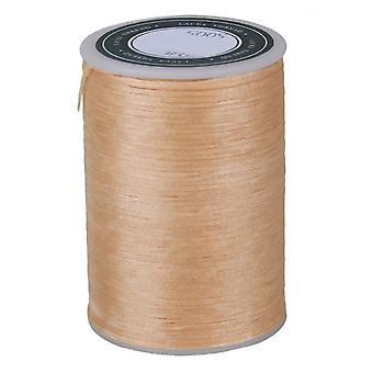 Beige Cired Flat Polyester Thread Cord Handcraft Cuir Travail 78M 0.8MM 3-Ply