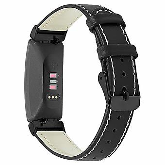 For Fitbit Inspire / 2 / HR / Ace 2 Genuine Leather Band Replacement Wristband Strap[Black]