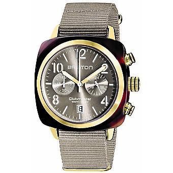 Briston Clubmaster Klassisk Acetate Kronograf klocka - Taupe/ Gult Guld
