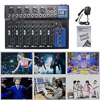 Bluetooth Audio Mixer W/usb Dj Sound Mixing Console Mp3 Jack 7 Channel Karaoke 48v Amplifier