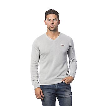 Roberto Cavalli Sport Light Grey Long Sleeves V-Neck Sweater