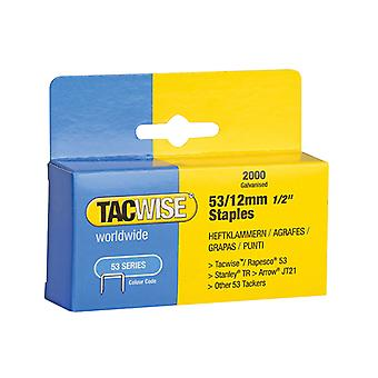 Tacwise 53 Light-Duty Staples 12mm (Type JT21, A) Pack 2000 TAC0337