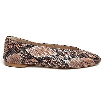 Women's Shoe Brown Leather Dancer Print-Snake