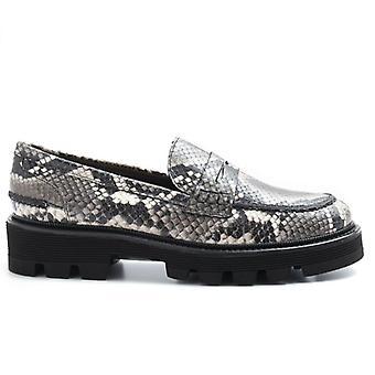 Alfredo Giantin Grau Python Loafers gedruckt