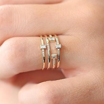 Unique handmade silver & gold plated ring in ribbon zircon