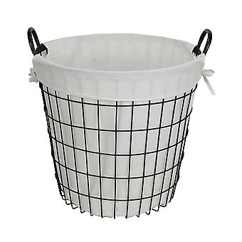 White Fabric Lined Metal Laundry Type Basket with Handle
