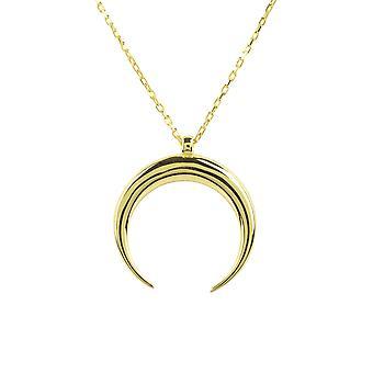 Latelita Plain Pendant Necklace Tusk Horn Gold Short 925 Sterling Silver Simple Gift