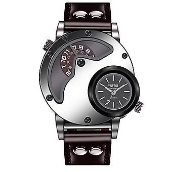 YNFRU Fashionable Men Creative Watch Dual Display Clock Leather Strap Quartz