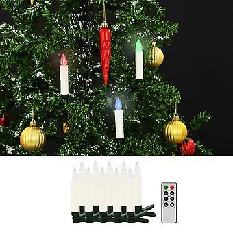 Trådlösa LED julljus med fjärrkontroll 10 st. RGB