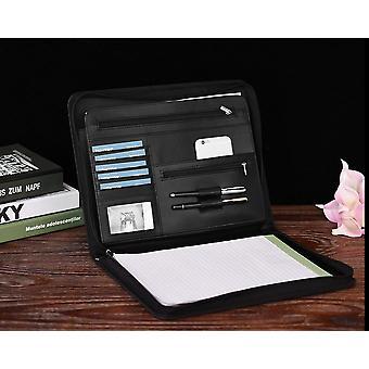 Zippered Multifunctional Portfolio, Professional Padfolio File Organizer With