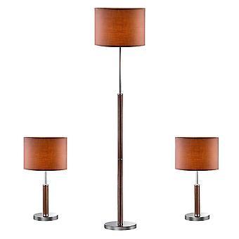 Lámpara de mesa clásica (3 Set) Bronce 1 Luz con Sombra de Tela, E27