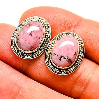 "Rhodonite Earrings 3/4"" (925 Sterling Silver)  - Handmade Boho Vintage Jewelry EARR409397"