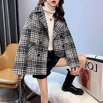 Talvi Korealainen Vintage Woolen Löysät Takit Double Breasted Turndown Kaulus