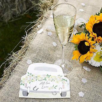 Boho Car Shaped Wedding Floral Paper Party Napkins x 16