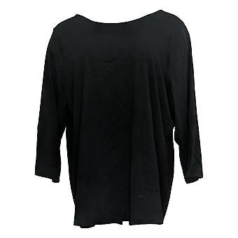 Belle By Kim Gravel Women's Top Knit 3/4 Slv Bow Back Neck Black A377261