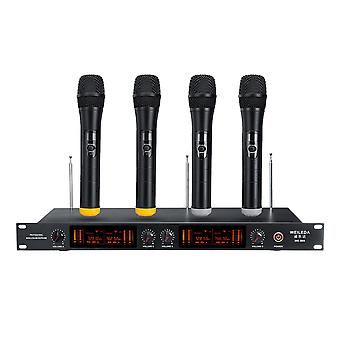 UHF 4 Channels Wireless Microphone System for Conference KTV Teaching Wedding Stage Performance