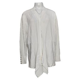 Susan Graver Women's Sweater Rayon Cardigan Blanc A384096