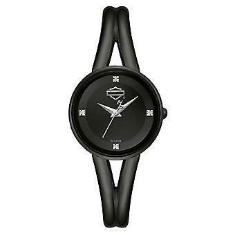 Harley Davidson 78P102 Women's 4 Diamonds Half Bangle Black Wristwatch