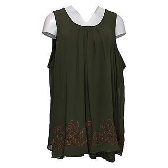 Lori Goldstein Women's Top Tank W/ Knit Underlay Green A297093