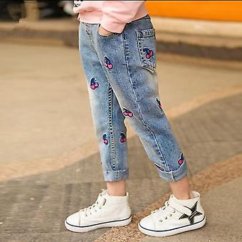 Дети Джинсы Эластичные waist Брюки Случайный джинсовый печати Длинные брюки