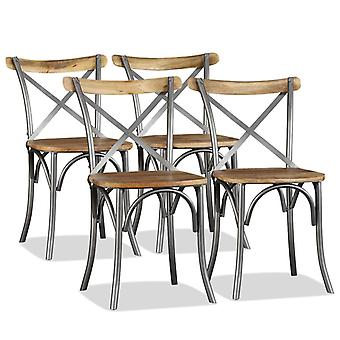 Dining Chairs 4 Pcs Solid Mango Wood And Steel Cross Back