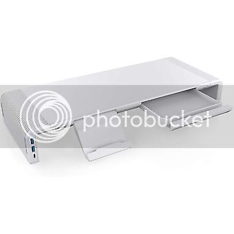 Justerbar skærmholder med USB 3.0- og USB C-forbindelse hvid