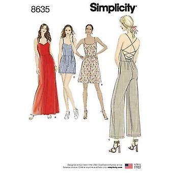 דפוס תפירה פשטות 8635 מתגעגע נשים שמלת סרבל Romper גודל 6-14 UC