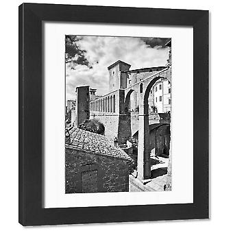 Spectacular Medieval Pitigliano in Italy, Black & White. Framed Photo. Pitigliano is a spectacular.