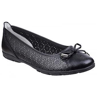 Fleet & Foster Lagune damas zapatos de bailarina de cuero negro