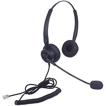Wokex Telefon Headset RJ11 Binaural mit Noise Cancelling Mikrofon, Festnetztelefon Kopfhörer