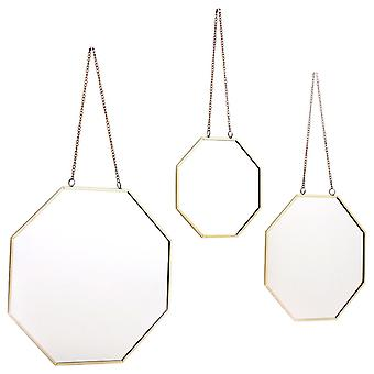Set Of 3 Hanging Geometric Mirrors