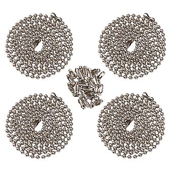 4pcs 36 Inch Chandelier Fan Beaded Hanging Chain with Connector Silver