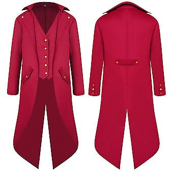 Red 2xl men middle ages ancient swallowtail coat long dress tailcoat cai1122