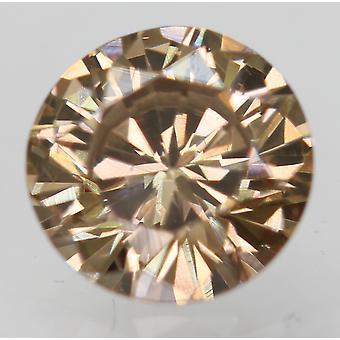 Cert 0.49 Carat Int Brown VVS2 Round Brilliant Enhanced Natural Diamond 5.12mm