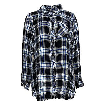 Tolani Collection Women's Top Plaid Tunic With Print Back Blue A383438