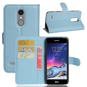 LG K4 2017 Shockproof Wallet Folio Leather Shell Case - Bleu
