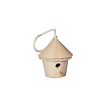 Mini pyöreä puinen linnunpönttö tai lintulaatikko- 9cm pitkä