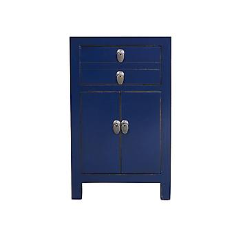Ásia fina revivendo mesa de cabeceira chinesa Midnight Blue W40xD32xH60cm