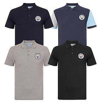 Manchester City Mens Polo Shirt Crest OFICIAL Fotbal Cadou