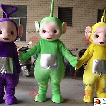 Mascota REDBROKOLY.COMs de Teletubbies verde amarillo y morado.3 teletubbies