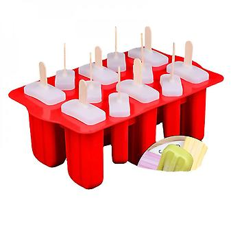 Silicone Ice Cream Molds, 12 Cavities, Food Grade, Reusable, With 12 Sticks