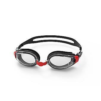 SwimTech Fusion Senior Adults Swimming Pool Water Goggles Black/Red